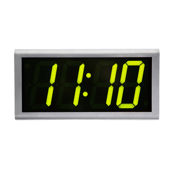 Inova On-Time Wall Clock ONT4DSS-G Double Sided Wall Clock - Stainless Steel with Green LED