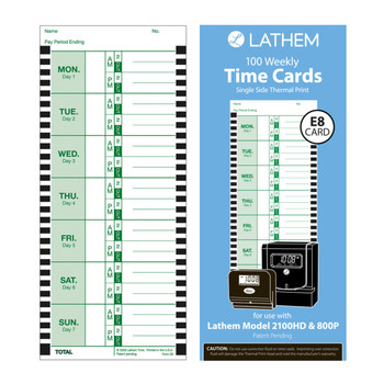Lathem E8 Thermal Weekly Time Cards (100 Pack)