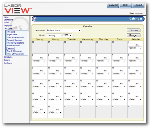LaborVIEW Calendar Module