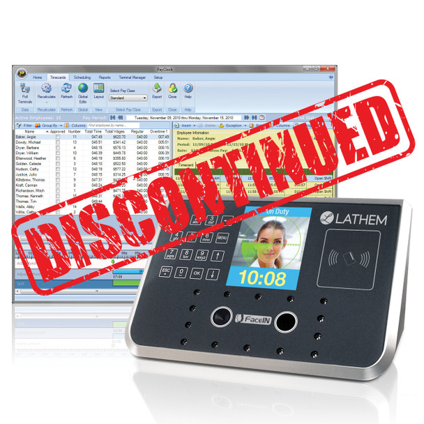 Lathem Licensed Software with FR700 100 Employee Facial Recognition Employee Time Clock with Badge Reader