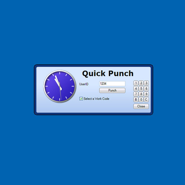 Quick Punch allows employees to clock in and out right from their desktop by entering their employee number or user ID and clicking Punch.
