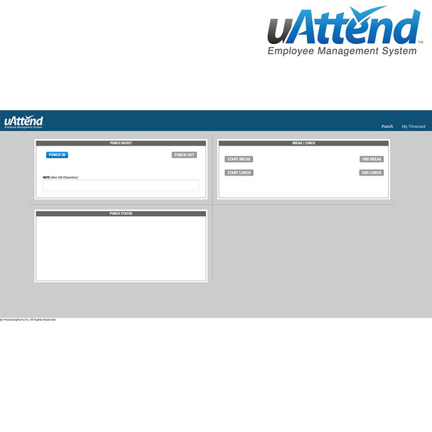 uAttend Desktop Webpage Punching with Job Costing