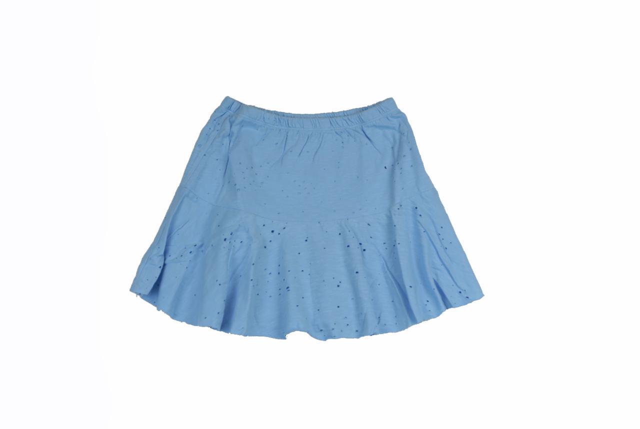 3a3479c6dad5 AIRY BLUE JERSEY COTTON HOLEY SLUB RUFFLE SKIRT ...