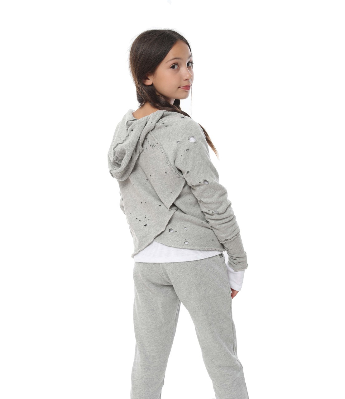 bd86a134613fc ... GREY HEATHER FLEECE COTTON SWEAT PANTS WITH DISTRESSED POCKETS