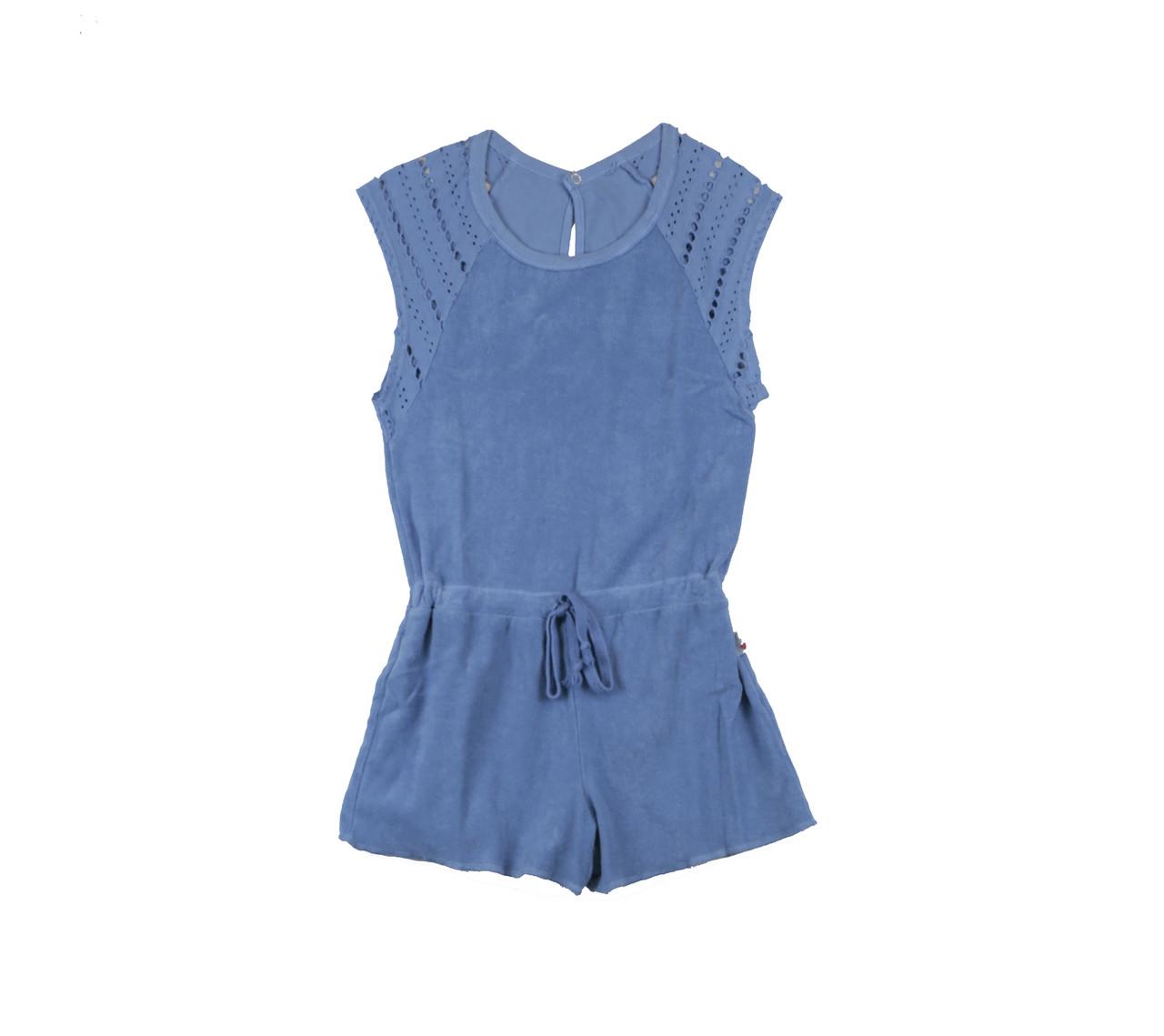 e6c4952f33 GIRLS TERRY CLOTH COTTON ROMPER WITH CROCHET CONTRAST - T2love Inc.