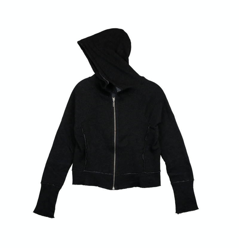 CHARCOAL LONG SLEEVE HOODED ZIP JACKET WITH RIB CONTRAST