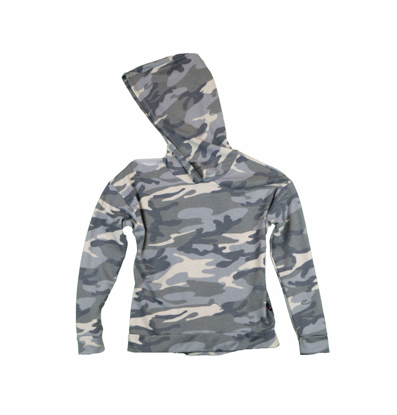 GREY/CREAM CAMO LONG SLEEVE HOODED TOP WITH CUT SHOULDER