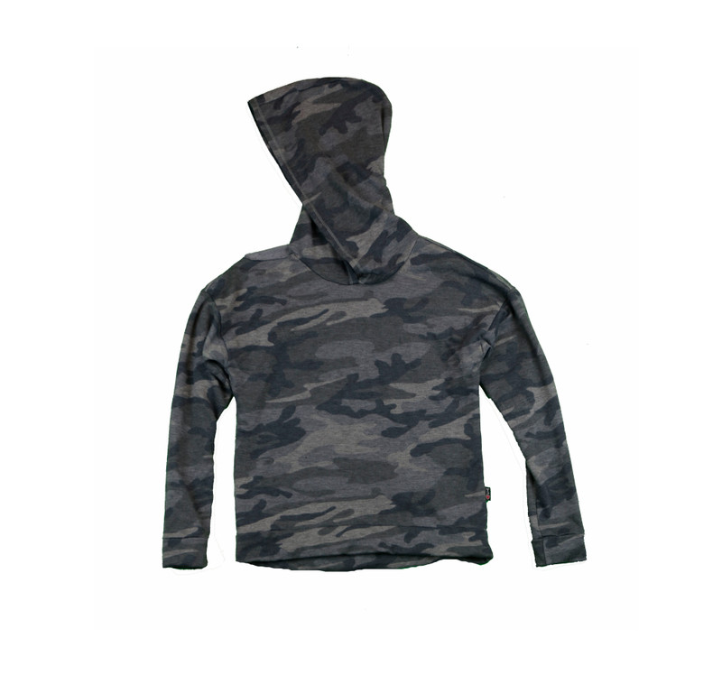 CHARCOAL CAMO LONG SLEEVE HOODED TOP WITH CUT SHOULDER