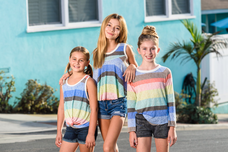RAINBOW BIG STRIPES KNOTTED RACER BACK TANK