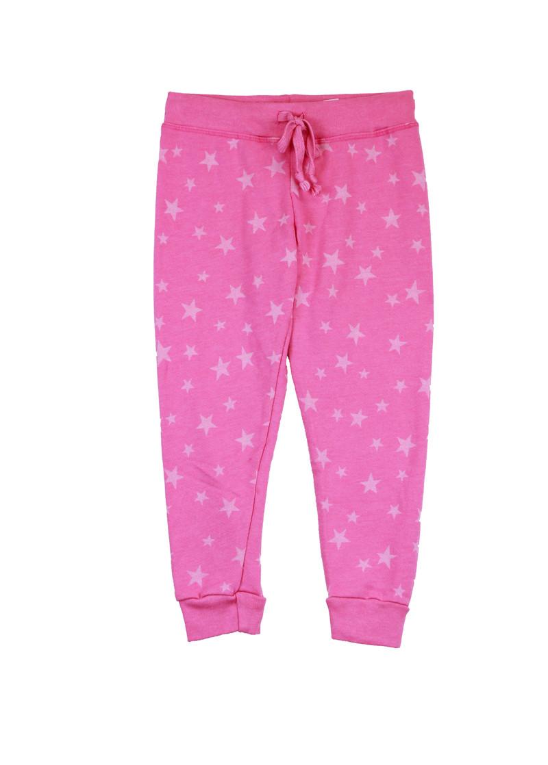 HOT PINK BURNOUT STARS SWEAT PANTS WITH BACK POCKET