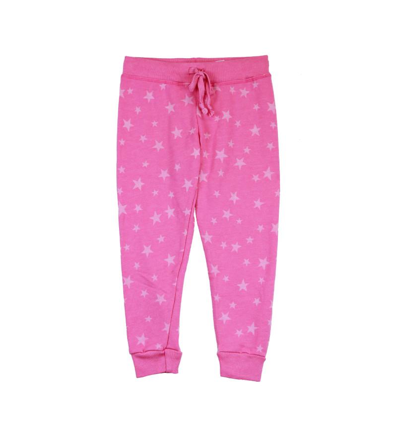 GIRLS CUFFED BURNOUT STARS PRINT SWEAT PANTS WITH BACK POCKET
