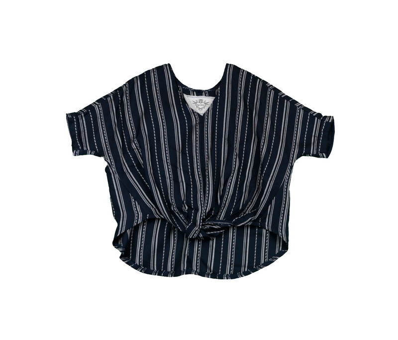 BLACK AND WHITE SPANISH STRIPES ROLL SLEEVE V-NECK WITH KNOT