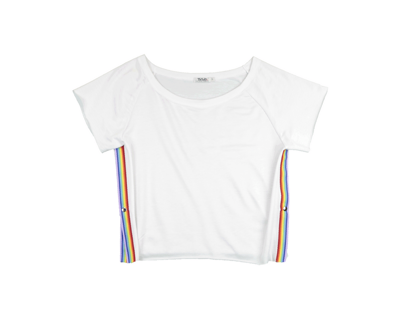 WHITE SHORT SLEEVE TEE WITH RAINBOW SIDE STRIPE TAPE