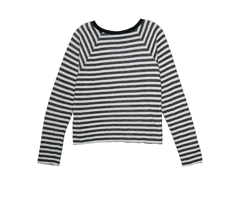 CHARCOAL STRIPE LONG SLEEVE EASY CREW WITH RAW EDGES BACKVIEW