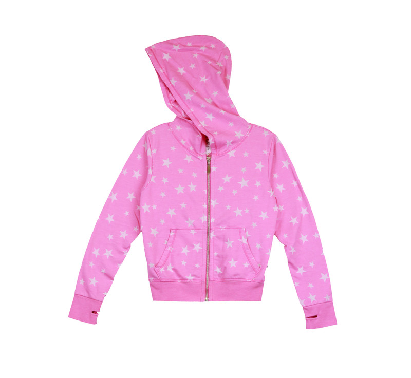 HOT PINK BURNOUT STAR HOODED ZIPPER JACKET WITH THUMBHOLE