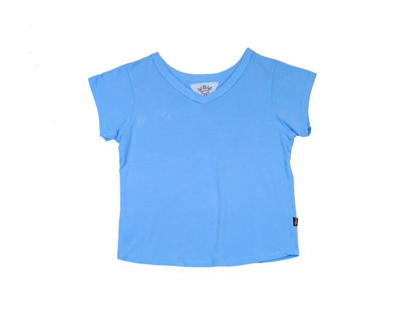 AIRY BLUE SHORT SLEEVE BURNOUT BOXY V-NECK TEE