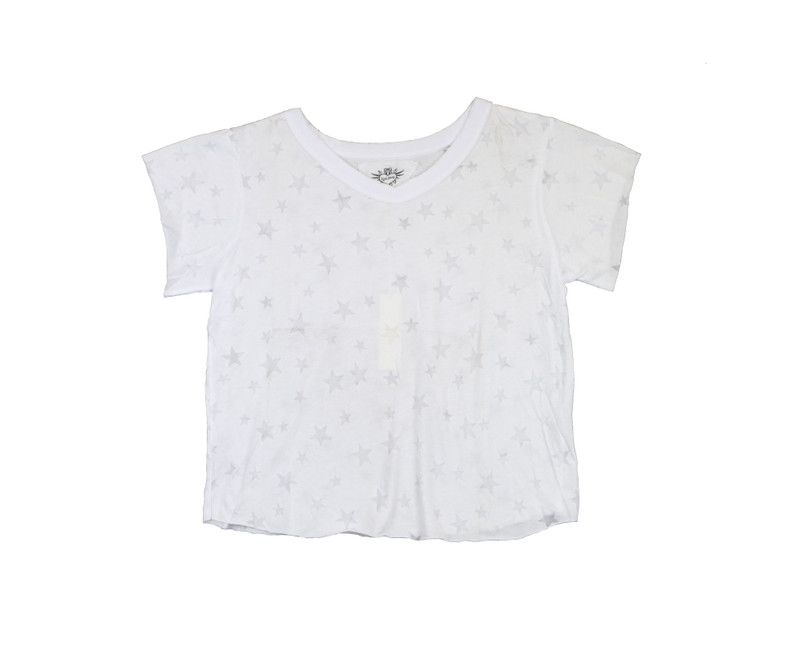 WHITE SHORT SLEEVE BURNOUT BOXY V-NECK TEE