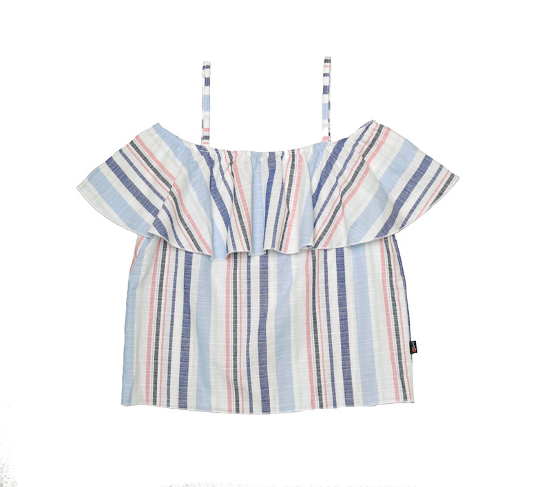 CHAMBRAY STRIPES OFF SHOULDER RUFFLE TOP