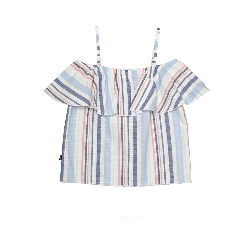 CHAMBRAY STRIPES OFF SHOULDER RUFFLE TOP BACKVIEW