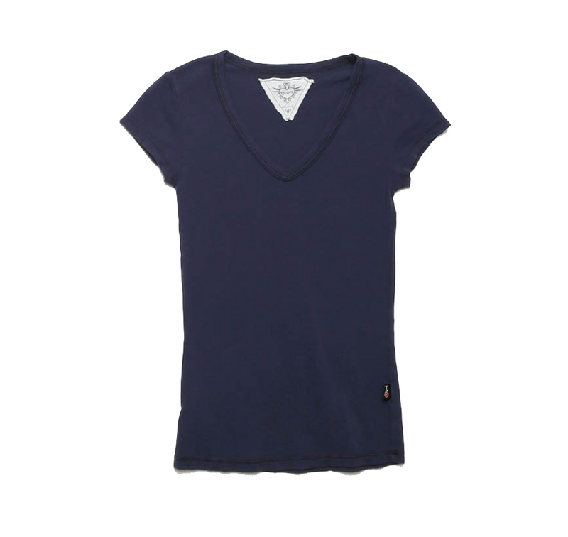 NAVY JERSEY MODAL LYCRA CAP SLEEVE V NECK TOP