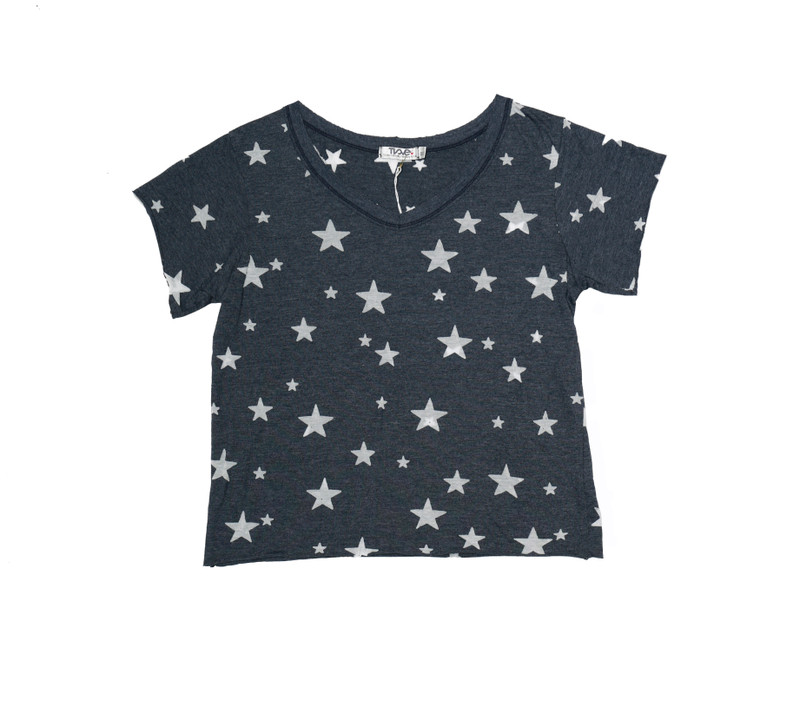 NAVY SHORT SLEEVE BURNOUT STARS BOXY V-NECK TEE