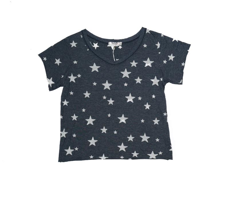 NAVY SHORT SLEEVE BURNOUT STARS BOXY V-NECK TEE