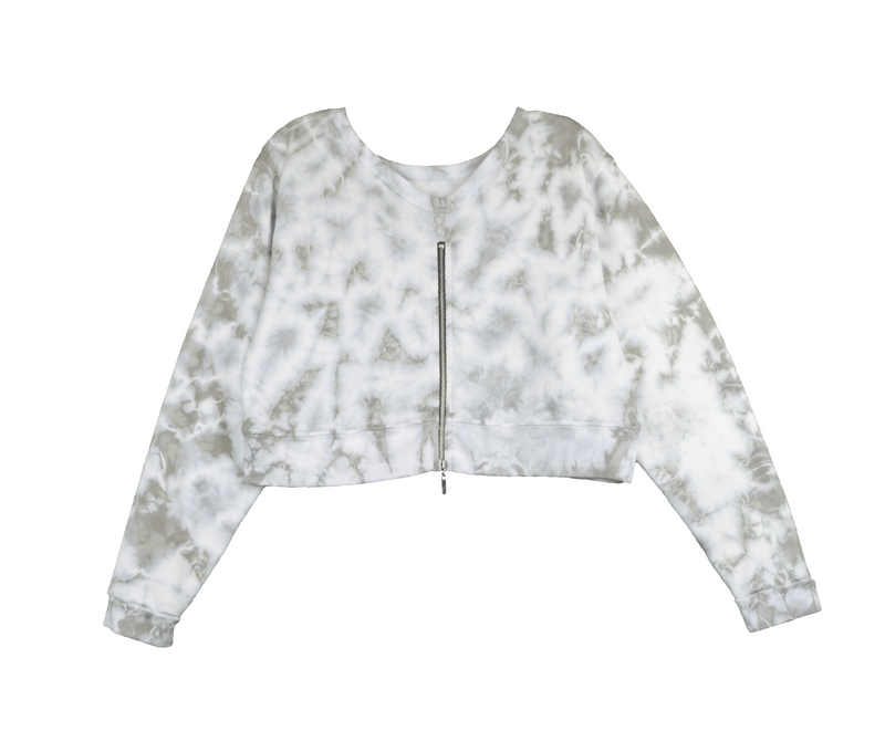 NATURAL & WHITE TIE DYE LONG SLEEVE CREW TOP - BACK VIEW