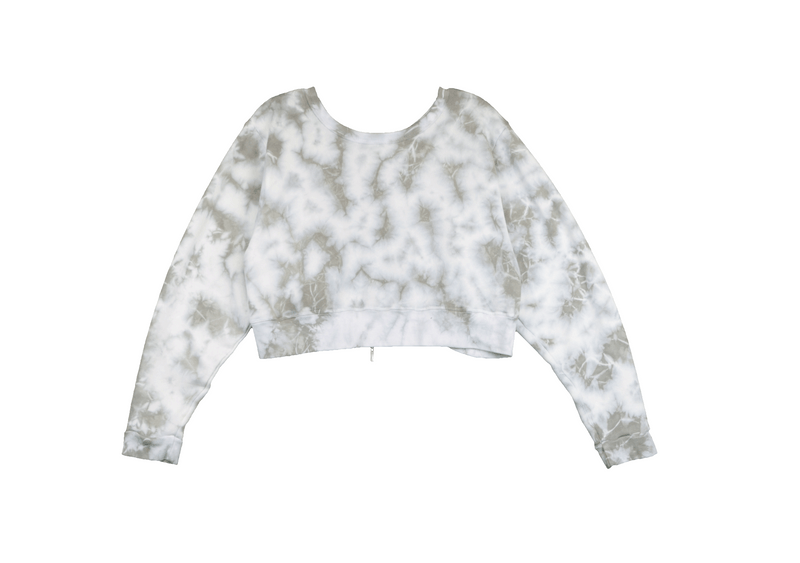 NATURAL & WHITE TIE DYE LONG SLEEVE CREW TOP