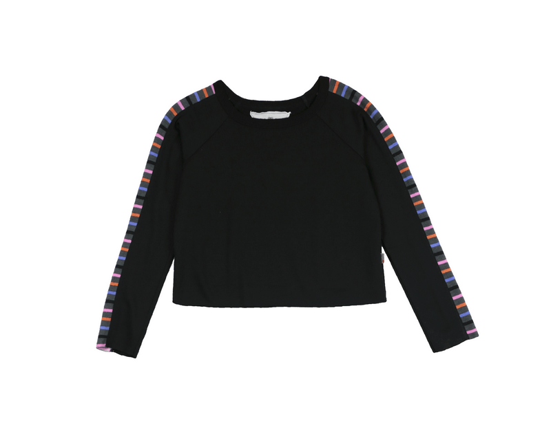 BLACK MULTI STRIPES LONG SLEEVE RAW EDGE CREW WITH PANE