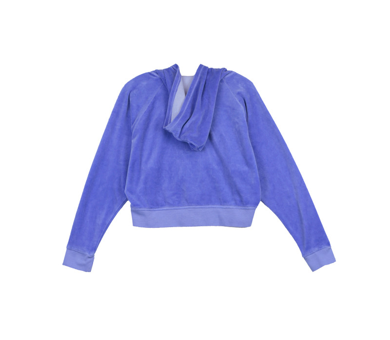 BRIGHT BLUE LONG SLEEVE VELOUR HOODED ZIP WIDE JACKET - BACK VIEW