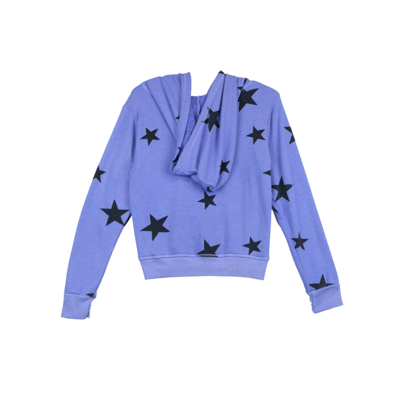 BRIGHT BLUE BLACK STARS PRINT LONG SLEEVE ZIPPER HOODED JACKET WITH THUMB HOLES - BACK VIEW