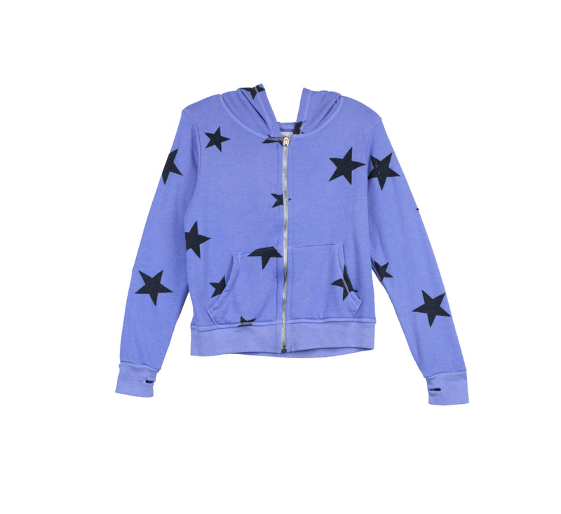 BRIGHT BLUE BLACK STARS PRINT LONG SLEEVE ZIPPER HOODED JACKET WITH THUMB HOLES