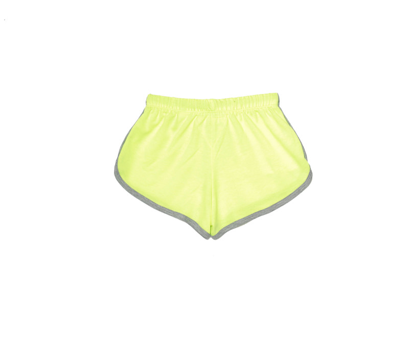 NEON YELLOW RUNNER SHORTS BACK VIEW