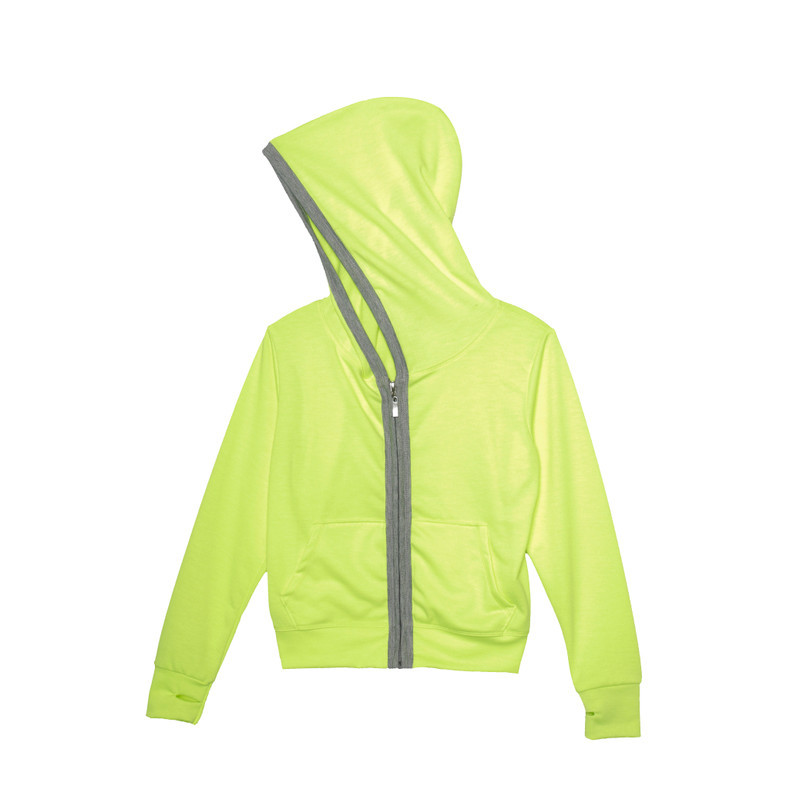 NEON YELLOW LONG SLEEVE NOODED ZIPPER JACKET WITH THUMB HOLES