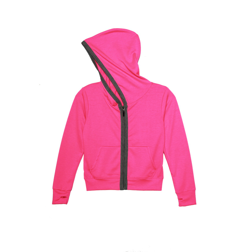 NEON PINK LONG SLEEVE NOODED ZIPPER JACKET WITH THUMB HOLES