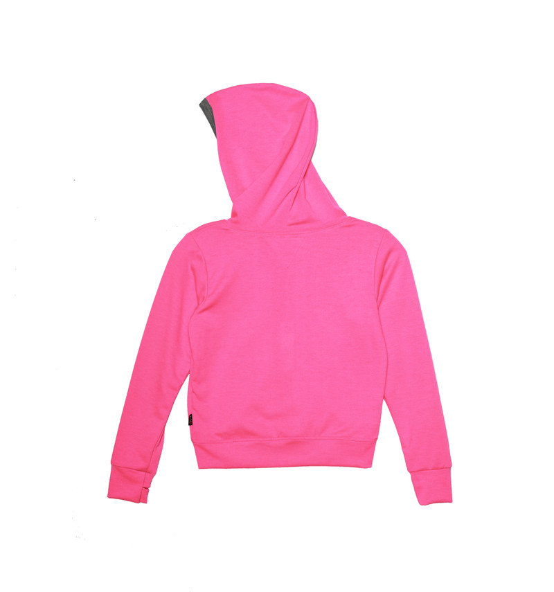 NEON PINK LONG SLEEVE NOODED ZIPPER JACKET WITH THUMB HOLES - BACK VIEW