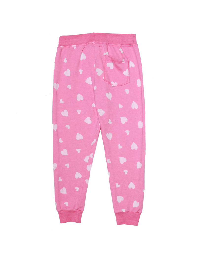 NEON PINK BURNOUT HEARTS CUFFED SWEAT PANTS WITH BACK POCKET - BACK VIEW