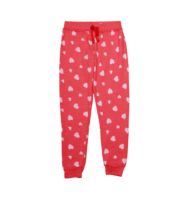 V. RED BURNOUT HEARTS CUFFED SWEAT PANTS WITH BACK POCKET