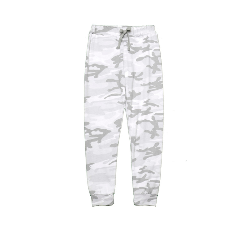 WHITE CAMO CUFFED SWEAT PANTS WITH BACK POCKET
