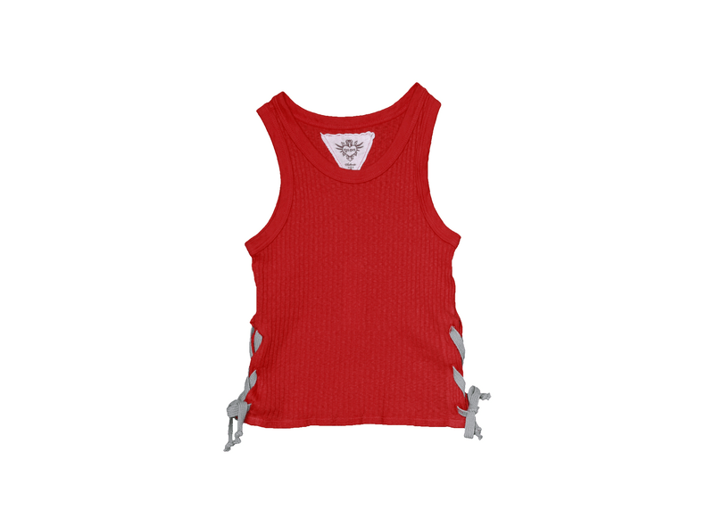 V. RED RIB CROP TOP WITH SIDE TIES