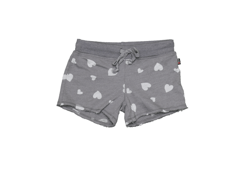 DK GREY BURNOUT HEART PRING RAW SHORTS WITH BACK POCKET