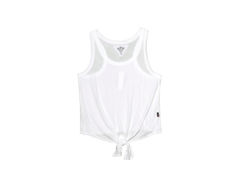 WHITE TIE FRONT RACER TANK