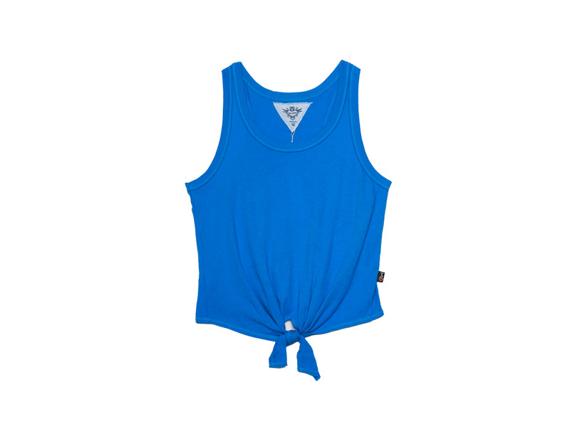 R. BLUE TIE FRONT RACER TANK