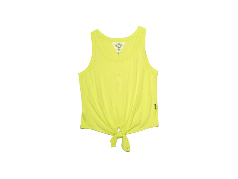 YELLOW LIME TIE FRONT RACER TANK