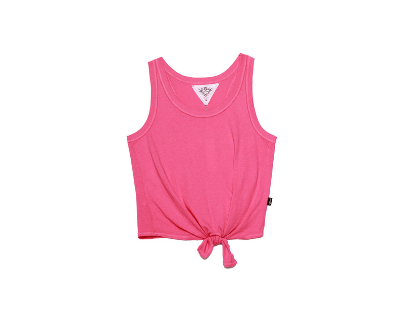 BRIGHT PINK TIE FRONT RACER TANK