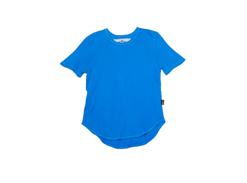 BRIGHT BLUE SHORT SLEEVE ROUNDED BOTTOM TEE