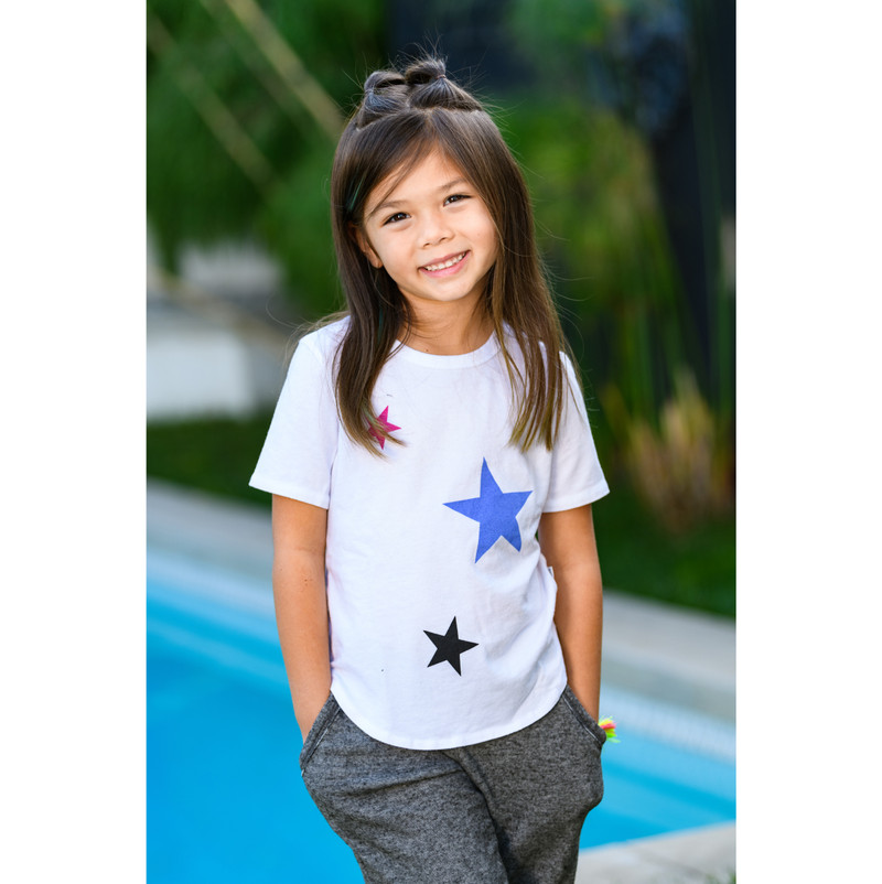 WHITE TRI COLOR STARS MUSCLE TOP