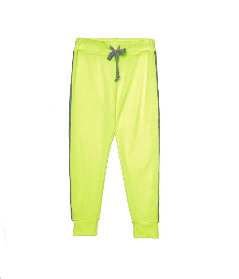 NEON YELLOW TIGHT FIT SWEAT PANTS WITH CUFF