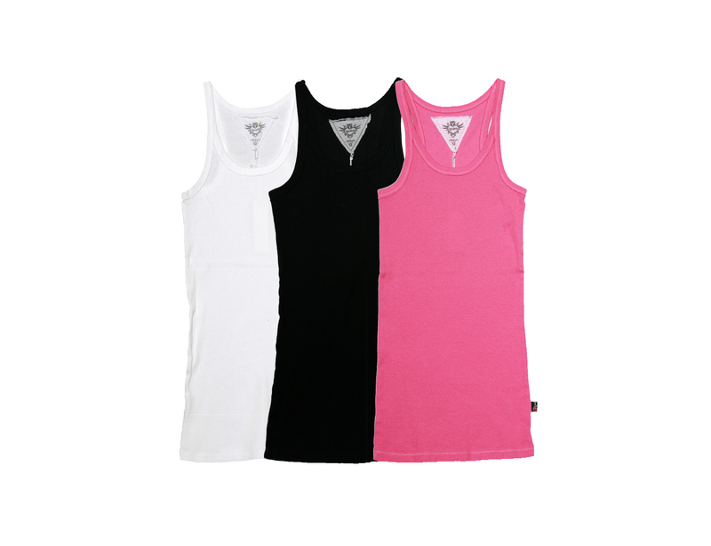 WHITE BLACK BRIGHT PINK TANK TOP