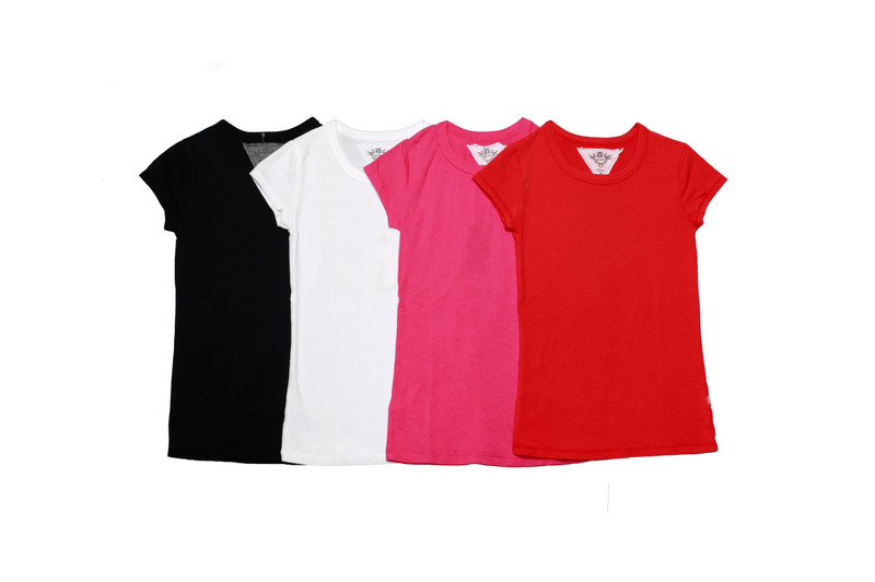 BLACK WHITE BRIGHT PINK V RED CAP SLEEVE CREW TOP